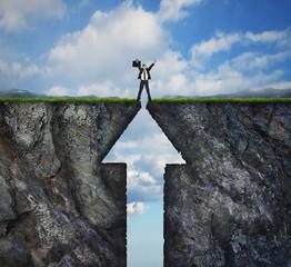 Climbing to success concept on mountain reaching peak summit