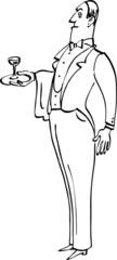 English butler or waiter, line art