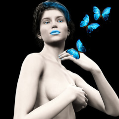 3D woman with blue butterfly