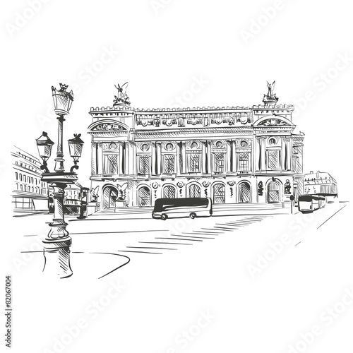 Opera Garnier, Paris, France. Vector illustration - 82067004