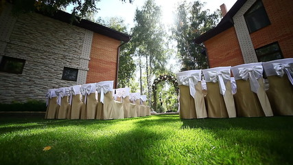 A superbly decorated garden for the wedding