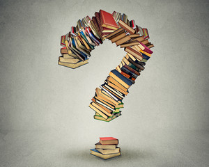 Question mark made of books ask search answer concept