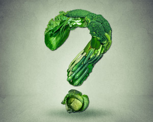Green diet questions concept resh fruit vegetables