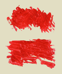 Red rectangle watercolor brush strokes, splash with copy space