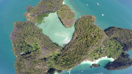 Aerial view of tropical island/Thailand/Krabi/Koh Hong island