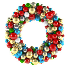 Christmas wreath decoration from ball toys