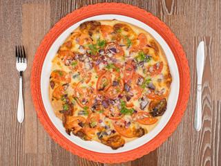 delicious round pizza