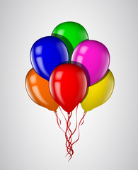 Multicolored balloons bunch with ribbon isolated. Vector