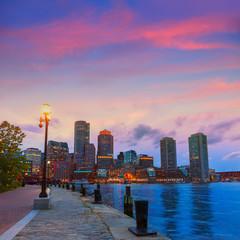 Boston sunset skyline at Fan Pier Massachusetts