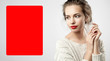 Plond woman with red lips and red poster