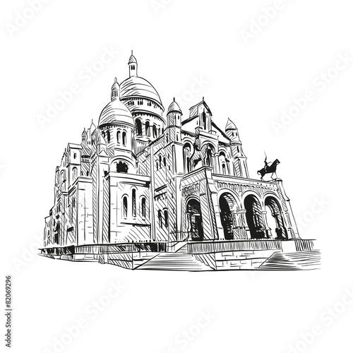 Sacre Coeur Cathedral on Montmartre , Paris, France - 82069296