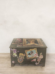 Chest box on the wooden floor. Vintage color style