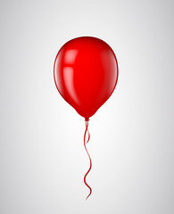 Red balloon with ribbon isolated. Vector illustration