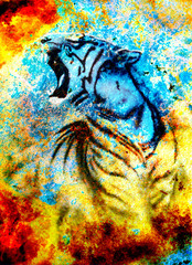painting abstract tiger collage on color abstract  background