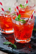 Red Cocktail with mint and ice - 82070445