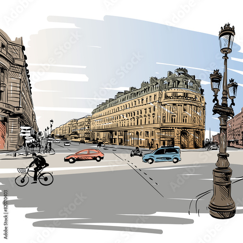 narysowana-paryska-uliczka-wektorowa-ilustracja