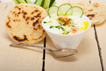 Arab middle east goat yogurt and cucumber salad