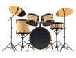 wooden drums isolated. Black drum kit. - 82072697