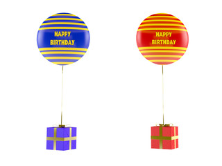 Multicolor balloons with gifts isolated.