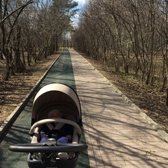 walking with baby. early spring