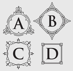 Set of 4 calligraphic frames for monogram or other design with l