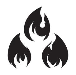 Set of 3 black fires for design or tattoo