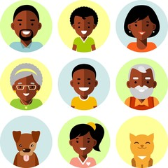 Family african american ethnic avatars icons in flat style