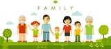 Fototapety Set of seven family members posing together in flat style