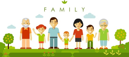 Set of seven family members posing together in flat style
