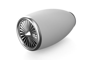 white jet engine