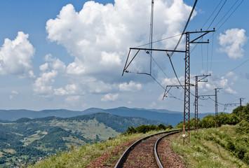 Railway in Carpathian mountains, Ukraine