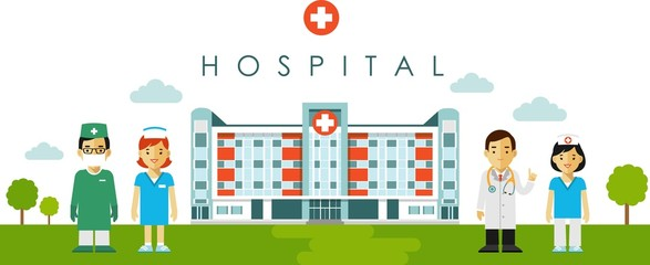 Medical concept with hospital building and doctor in flat style