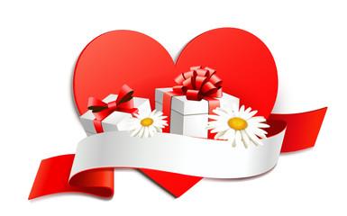 Herz Signet mit Geschenken u. Blumen