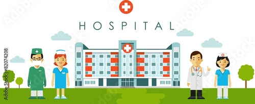 Medical concept with hospital building and doctor in flat style - 82074208