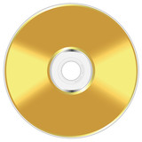 Realistic illustration of golden compact disc