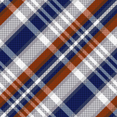 Diagonal tartan seamless texture in blue and light grey hues