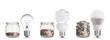 Leinwandbild Motiv money spent with different light bulbs.Isolated on white