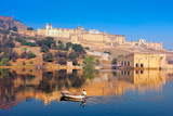 Maota Lake and Amber Fort in Jaipur