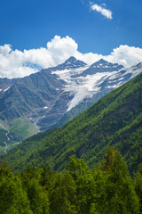 Caucasus mountains with melting glaciers