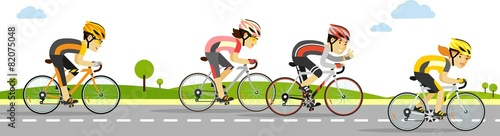 Young racing cyclists on bikes in flat style - 82075048