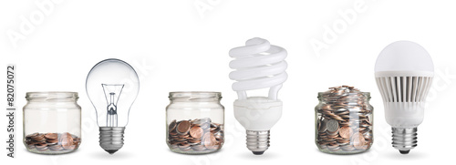 money spent with different light bulbs.Isolated on white - 82075072