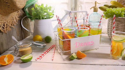 Making fruity lemonade in the summer kitchen