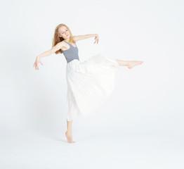 Dancing girl isolated on white backround