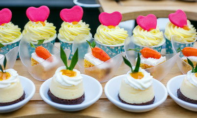 Small and cute wedding luxury dessert on reception