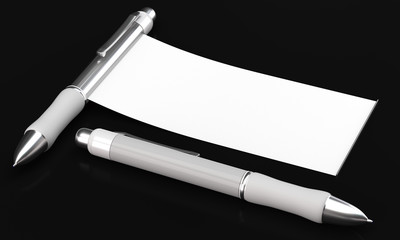White ball pens with banner mockups on dark background