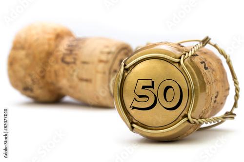 Foto op Canvas Uitvoering Champagnerkorken Jubiläum 50 Jahre