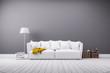 Leinwanddruck Bild - Modernes Wohnzimmer in minimal Stil mit Sofa
