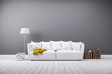 Modernes Wohnzimmer in minimal Stil mit Sofa - 82077265