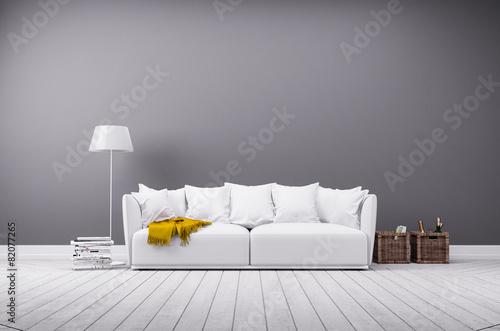 Leinwanddruck Bild Modernes Wohnzimmer in minimal Stil mit Sofa