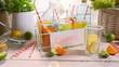 Refreshing lemonade with fresh fruits in summer